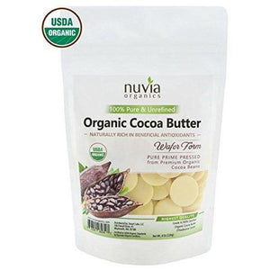 Nuvia Organics Cocoa Butter - 100% USDA Certified Organic, Raw Unrefined Pressed Wafers, Food Grade, Edible, Keto, Vegan; 8oz