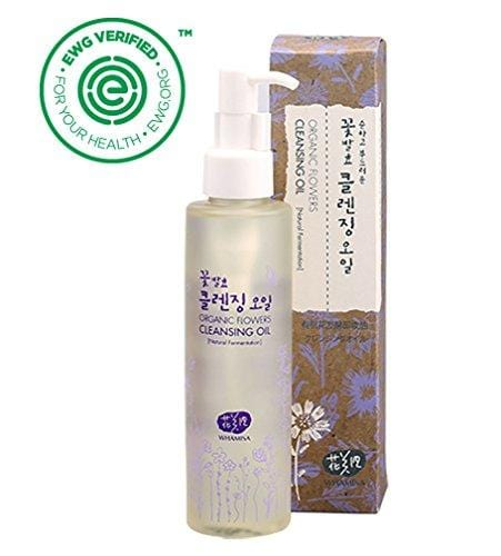 Whamisa Organic Flowers Cleansing Oil 150ml, 5.07 fl. oz.. Makeup Remover, Deep Cleansing - Naturally fermented, EWG Verified