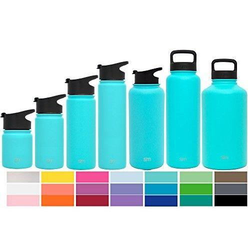 Simple Modern 40 oz Summit Water Bottle - Stainless Steel Hydro Metal Flask +2 Lids - Wide Mouth Double Wall Vacuum Insulated Caribbean Reusable Large 1.5 Liter Cold Leakproof Thermos - Teal Sport & Recreation Simple Modern