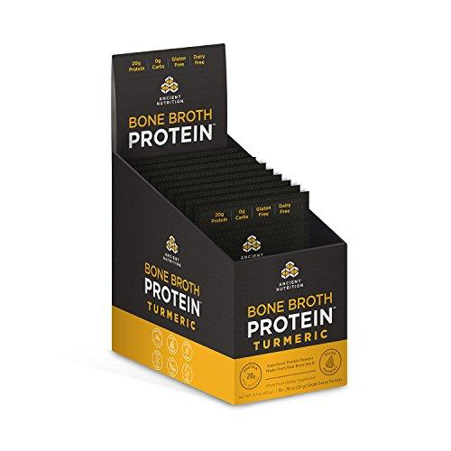 Ancient Nutrition Bone Broth Protein Powder, Turmeric Flavor, 15 Single Packets