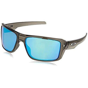 Oakley Men's Double Edge Polarized Iridium Rectangular Sunglasses, Grey Smoke, 66 mm