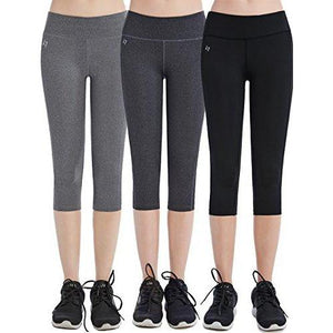 FITTIN Women's Yoga Capri's Leggings w/ Pocket, Black/Grey, Pack of 3 (Large)