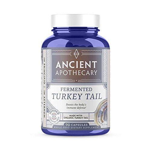 Ancient Apothecary Fermented Turkey Tail Mushroom Supplement, 90 Capsules - Infused with Organic Essential Oils, Ashwagandha Extract and Digestive Bitters