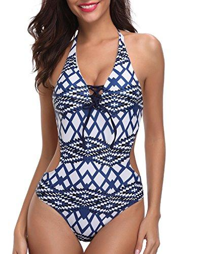 Holipick Women 1 Piece Plunge V Neck Halter Strappy Sexy Backless Geometric Pattern Monokini Swimsuits Blue S