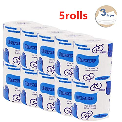 Silky & Smooth Soft Professional Series Premium 3-Ply Toilet Paper, Home Kitchen Toilet Tissue, Soft, Strong and Highly Absorbent Hand Towels for Daily Use (5 Rolls)