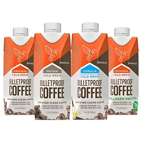 Bulletproof Coffee Cold Brew Ready to Drink Sampler- Ketogenic Diet, Sugar-Free, Includes Grass-Fed Butter and Brain Octane Oil, Flavors: Original, Mocha, Vanilla, and Original Plus Collagen (4 Pack)
