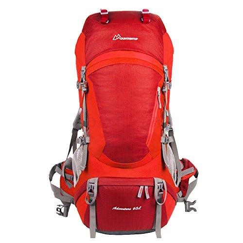 Mountaintop® Outdoor Sports Professional Hiking Large Backpack Daypacks Waterproof Mountaineering Bag M5822 Unisex 60L Trekking Travel Bag Rucksack (New Red)