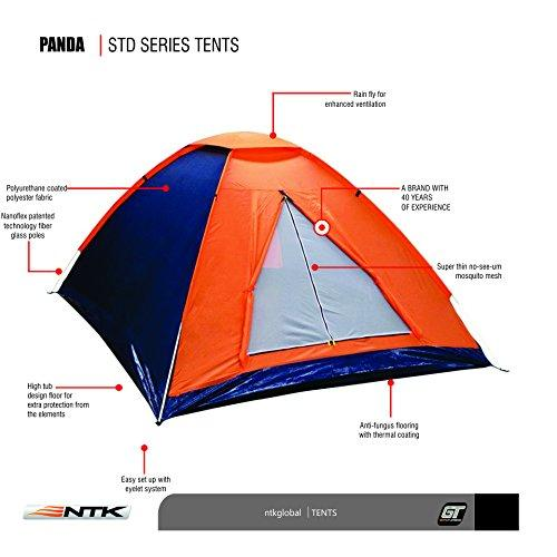 NTK Panda 3 Person 6.7 by 5.2 Foot Sport Camping Dome Camping Hiking Backpackers Tent Dry season, with Zippered Door and Compact Carrying Bag.