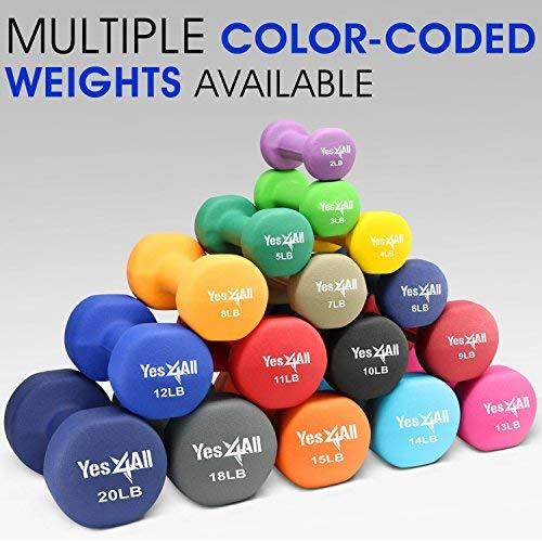 3, 5, and 8 lbs Dumbbells Neoprene with Non Slip Grip – Great for Total Body Workout – Total Weight: 32 lbs (Set of 3 pairs) Sport & Recreation Yes4All