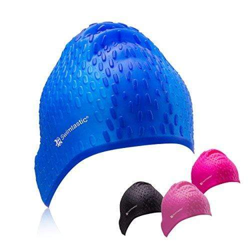 Swimtastic® Long Hair Water Drop Swim Cap - Fun & Unique Style for Swimmers with Long, Thick, or Curly Hair (Blue) Swim Cap Swimtastic®