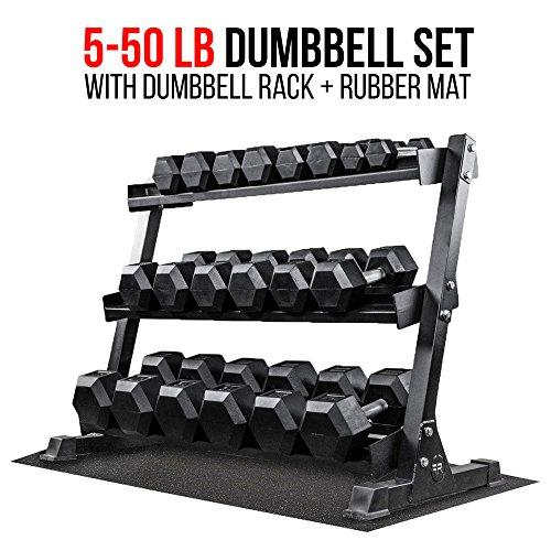 Rep Fitness Rep 5-50 lb Rubber Hex Dumbbell Set with Rack and Free Rubber Mat Sport & Recreation Rep Fitness