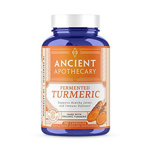Ancient Apothecary Fermented Turmeric Supplement, 90 Capsules - Full-Spectrum Curcumin Infused with Organic Essential OIls and Digestive Bitters
