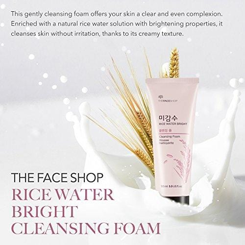 The Face Shop Foaming Facial Cleanser for Daily Face Washing, Rice Water Bright Cleansing Foam Moisturizer & Brightening Care for All Skin Types 150 mL/5 Oz