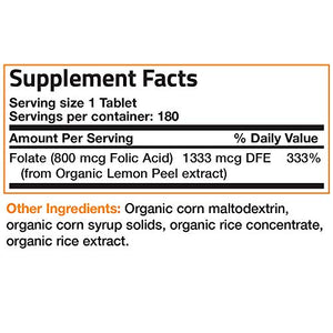 Bronson Organic Folic Acid, USDA Certified & Vegetarian, Ultimate Prenatal Vitamin, 180 Tablets
