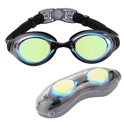 Aegend Swim Goggles, Swimming Goggles Shatter-Proof Men Women Adult Youth Kids Children, Anti-Fog UV Protection Leak-Proof Triathlon Swim Goggles Mirrored/Clear Free Protection Case Swim Goggles Aegend