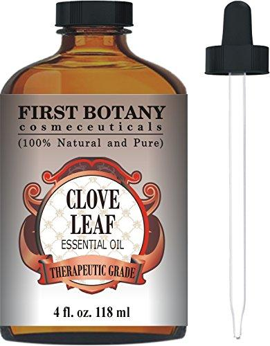 First Botany Cosmeceuticals Therapeutic Grade Clove Leaf Essential Oil with a Glass Dropper, 4 fl oz