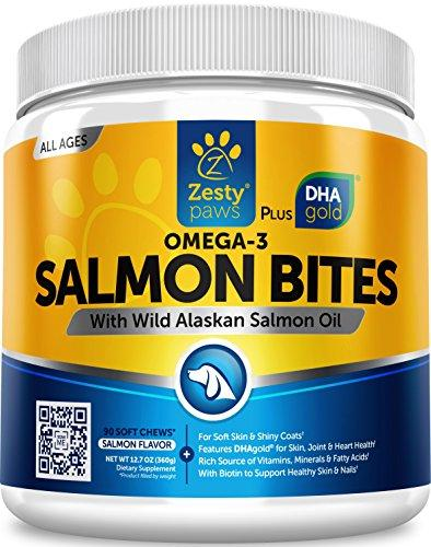 Salmon Fish Oil Omega 3 for Dogs - With Wild Alaskan Salmon Oil - Anti Itch Skin & Coat + Allergy Support - Hip & Joint + Arthritis Dog Supplement - Natural Omega-3 & 6 + EPA & DHA - 90 Chew Treats Animal Wellness Zesty Paws