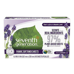 Seventh Generation Fabric Softener Sheets, Fresh Lavender scent, 80 count (Packaging May Vary)