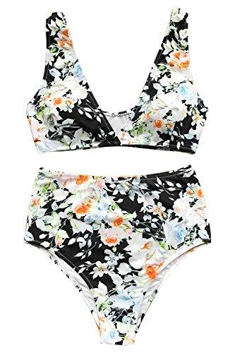 Cupshe Fashion Women's Mist and Noct Print Bikini Set Beach Swimwear Bathing Suit (M)