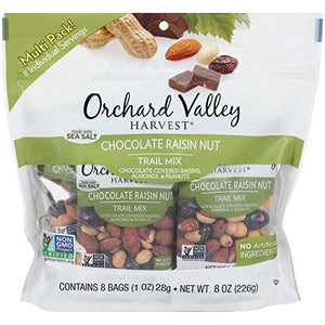 ORCHARD VALLEY HARVEST Chocolate Raisin Nut Trail Mix, 1 oz (8 Pack) Food & Drink Orchard Valley Harvest