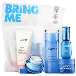 Laneige Hydrating Kit Travel Size Set Moisturizing Foam Cleanser, Water Bank Essence, Moisture Cream, Sleeping Mask, Power Skin Toner