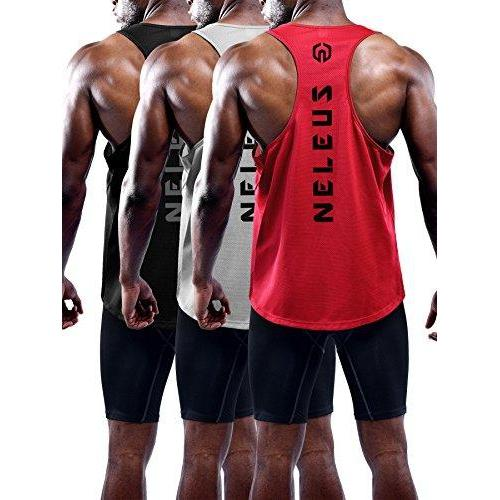 Neleus Men's 3 Pack Dry Fit Y-Back Muscle Tank Top Activewear Neleus