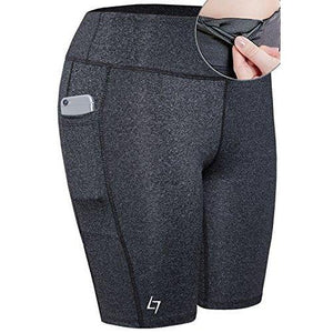 FITTIN Women's Active Fitness Pocket Sports Shorts - Yoga Running Activewear Workout Gym Running Leggings 3-Pack XL