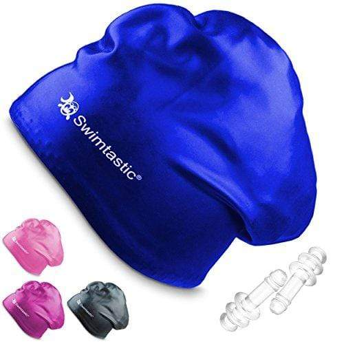 Swimtastic® Long Hair Swim Cap + Ear Plugs - Specially Designed for Swimmers with Long, Thick, or Curly Hair (Blue) Swim Cap Swimtastic®