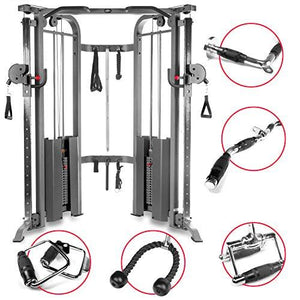 Functional Trainer Cable Machine with Dual 200 lb Weight Stacks, 19 Adjustments, and an UPGRADED Accessory Package