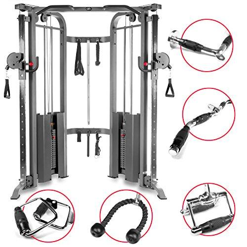 Functional Trainer Cable Machine with Dual 200 lb Weight Stacks, 19 Adjustments, and an UPGRADED Accessory Package Sport & Recreation XMark Fitness