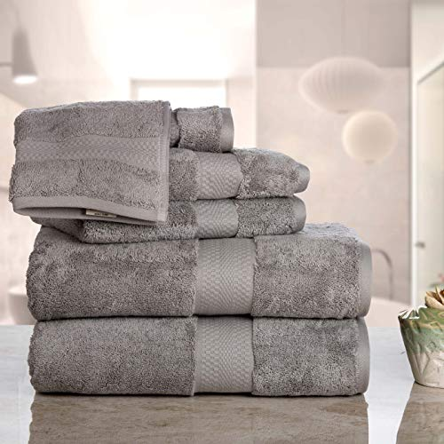 Luxury Cotton Bathroom Bath Towels: 6 Piece Towel Set for Household Bathrooms - Soft Plush and Absorbent Cotton with Double Stitch Hems - Bath / Shower Towels, Hand Towels, and Washcloths - SILVER