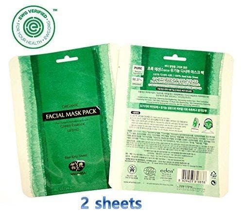 Whamisa Organic Real SEA KELP Facial Mask Sheet - 35g (2 sheets), OCEAN'S Green Essence - Naturally fermented, EWG Verified