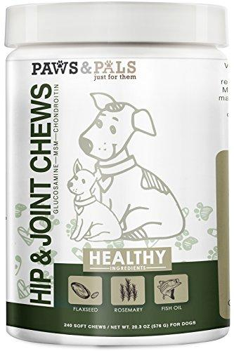 Paws & Pals Glucosamine Chondroitin Hip Joint 240ct Supplement for Dogs Cat Advanced Level 2 Formula All Natural Soft Chews MSN Animal Wellness Paws & Pals