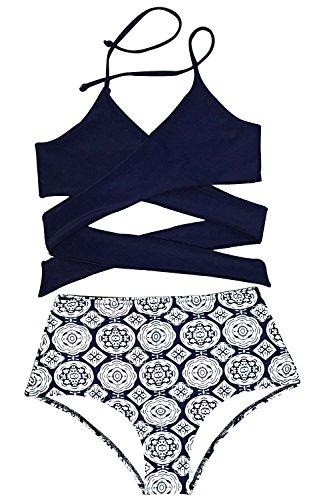 Cupshe Fashion Women's Front Cross High-waisted Halter Bikini Set, Multicolor, Medium