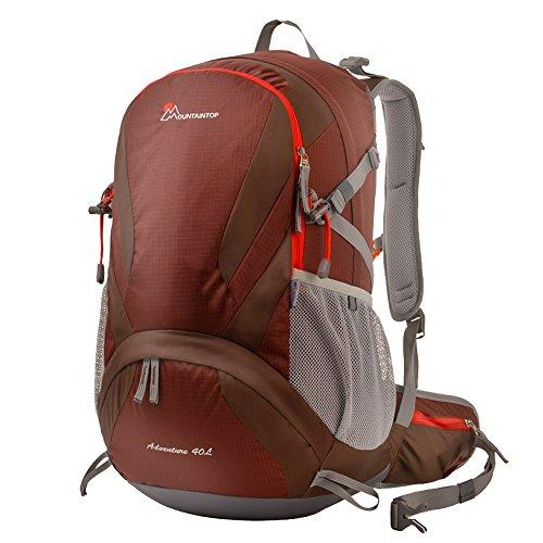 Mountaintop Outdoor Hiking Climbing Backpack Daypacks Rainproof Mountaineering Bag M5832 Shoulder Bag 40L Unisex Trekking Travel Bag Rucksack (Dark Red Ⅲ)