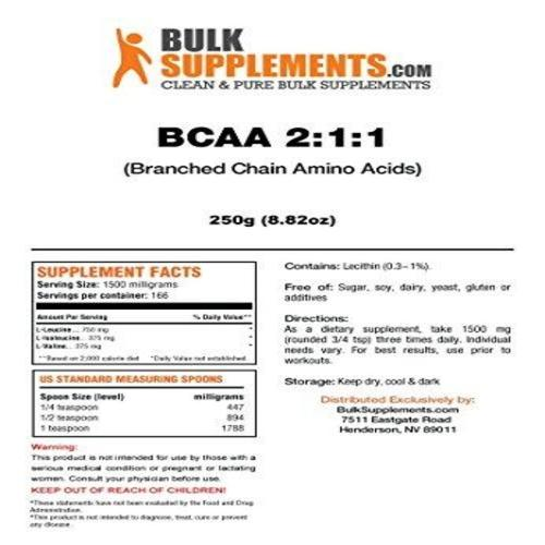 BCAA Branched Chain Essential Amino Acids Powder Supplement BulkSupplements