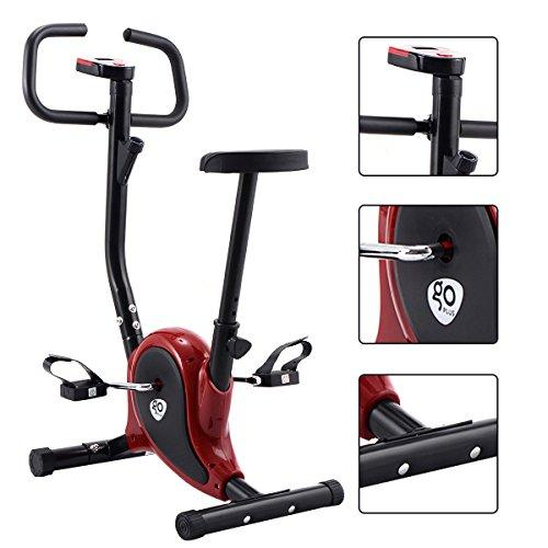 Goplus Fitness Cycling Upright Exercise Bike Stationary Cardio Aerobic Equipment, Red Sport & Recreation Goplus