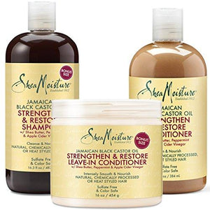 Shea Moisture Jamaican Black Castor Oil Combination Pack – Strengthen, Grow & Restore – Shampoo, 16.3 Oz, Conditioner 13 Oz. & Leave-In Conditioner 16 Oz