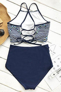 Cupshe Fashion Women's Magic Riddle Story Print Tie Back High Waisted Bikini Set Beach Swimwear Bathing Suit (L)