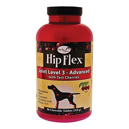 NaturVet Overby Farm Hip Flex Joint Level 3 Advanced Care with Tart Cherries for Dogs, 90 ct Chewable Tablets, Made in USA Animal Wellness NaturVet