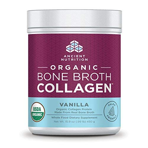 Ancient Nutrition Organic Bone Broth Collagen, Vanilla Flavor, 30 Servings Size - Organic Protein Powder Loaded with Bone Broth Co-Factors, 10g of Type II Collagen Per Serving