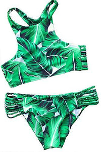 CUPSHE Women's Tropical Leaves Printing Tank Padding Bikini Set Small