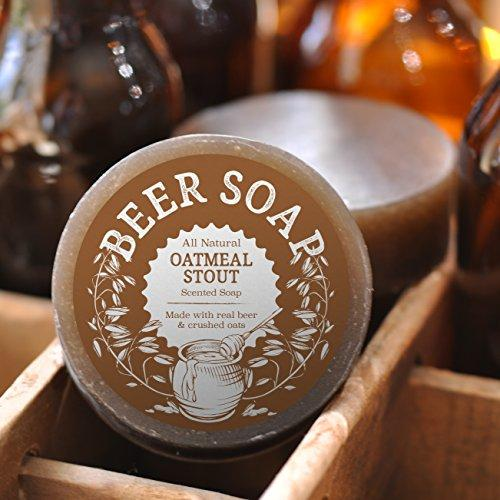 Beer Soap (Oatmeal Stout) - All Natural + Made in USA - Actually Smells Good! Perfect Gift For Beer Lovers