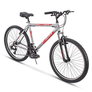"Huffy 26"" Escalate Mens 21-Speed Hardtail Mountain Bike, 20"" Aluminum Frame, Trigger Shift, Gloss Nickel"