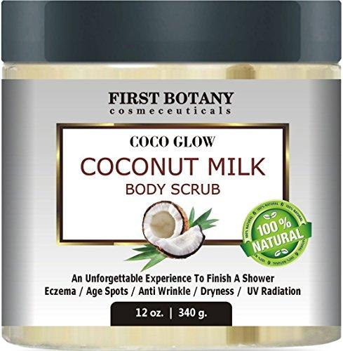 100% Natural Coconut Milk Body Polish 12 oz. With Dead Sea Salt and Vitamin E. Powerful Body Scrub Exfoliator and Daily Moisturizer For All Skin Types Skin Care First Botany Cosmeceuticals