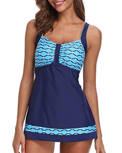 Holipick Women 2 Piece Patchwork Pattern Ruched Flyaway Tankini Top with Triangle Briefs Bottoms Set Bathing Suits Blue S