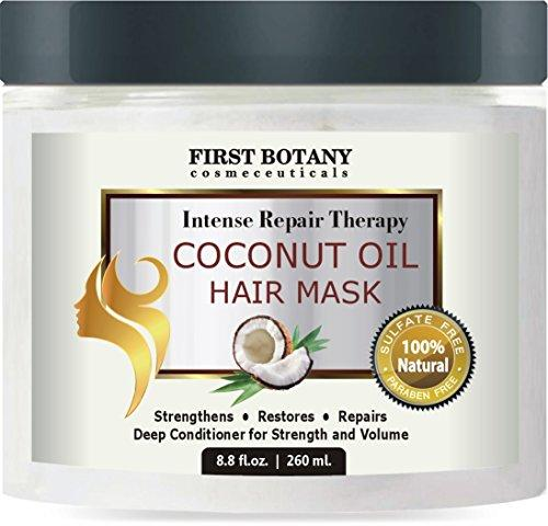 Coconut Oil Hair Mask, 8.8 fl. oz. Restorative Hair Mask, Deep Conditioner for Damaged & Dry Hair, Heals & Restructures Hair Shaft & Growth, Nourishes Scalp, Removes Residue Buildup .Sulfate Free