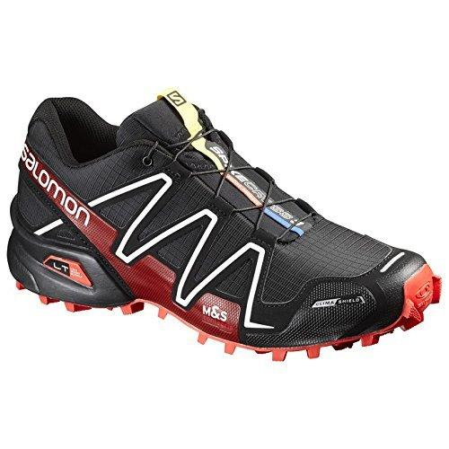 Salomon Unisex Spikecross 3 CS Black/Radiant Red/White Sneaker Men's 10, Women's 11 Medium