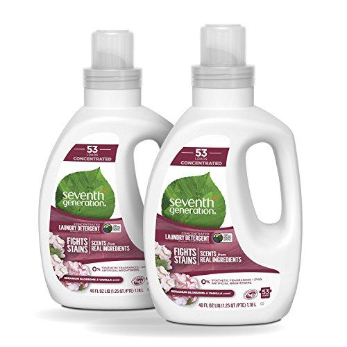 Seventh Generation Concentrated Laundry Detergent, Geranium Blossoms and Vanilla, 106 loads, 40 oz, 2 Pack (Packaging May Vary) Laundry Detergent Seventh Generation