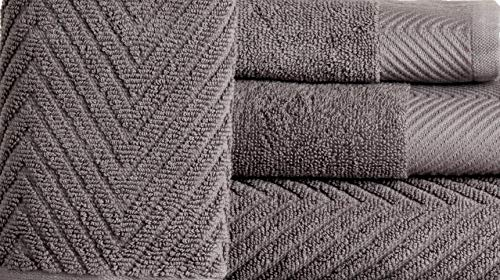 ISABELLA CROMWELL 6 Piece Premium Cotton Bath Towels Set - 2 Bath Towels, 2 Hand Towels, 2 Washcloths Machine Washable Super Absorbent Hotel Spa Quality Luxury Towel Gift Sets Chevron Towel Set- Grey